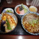 きつ井 - 天丼セット-かけそば(750円)