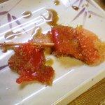 立呑み 龍馬 - 紅生姜はソースに漬ける必要が無い塩っ気。キャベツを合わせると美味い。2010.9
