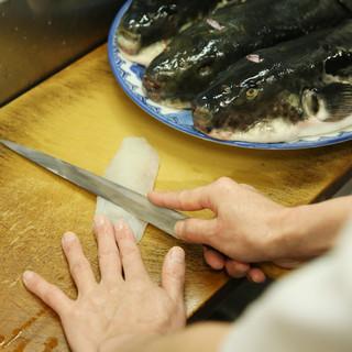 五島列島や瀬戸内のふぐを活け締めし、いつでも美味しいお料理を
