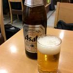 きしめん よしだ - 「ビール(中)」(500円)。