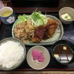 和風キッチン 蔵 - チキンかつ&焼肉豚しょうが焼きランチ¥750