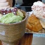 古屋アパート - 林檎とバナナのパウンドケーキ&抹茶パフェ