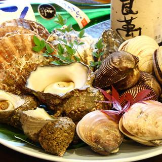 新鮮な魚貝類