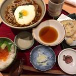 庄吉 - ランチのとろろ蕎麦野菜の天ぷらいくら丼セット