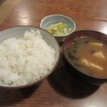 大衆割烹 三州屋 - ご飯・味噌汁・お新香