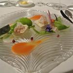 ル・ジャンティオム - 根セロリのムースに毛蟹 色々野菜とトマトのソース
