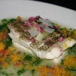 膳處漢ぽっちり - 旬のお魚を、上質の白湯ソースで蒸しあげました。