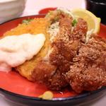 新潟農家直送米 黄金めし - 選べるミックス定食 アジフライ・とんかつ 1166円。