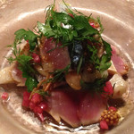 ビストロ ル セット - 和歌山県産サバの瞬間スモークキノコと長芋のマリネ