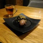59928098 - 安納芋と抹茶のティラミス。後ろは、ハーブティー。