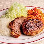 鍋の中 - ハンバーグ&ステーキライス 990円