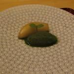 銀座一期 - ラ・フランスのコンポートと抹茶アイス。