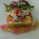 59946951 - 根菜と彩り野菜のテリーヌ、毛ガニと甘エビのマリネ、雲丹、イクラ、サラダ添え