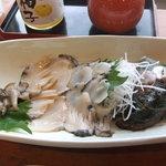 食彩々海への道 - あわびの活きづくり1029円