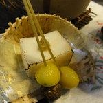 世界 - 帆立糝薯の炙り・新銀杏とむかご串揚げ