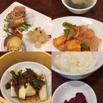CHINESE RISTORANTE レン - ランチ1000円 前菜、イカのカレー味あんかけ、蒸し茄子と春雨