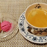 ステーキ花郷 - デザートの『チョコと葡萄のアイス』と『ホットコーヒー』~♪(^o^)丿