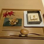 Sashakanetanaka - はじめに、カキの胡麻酢和え  と  温製やわら豆腐