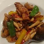 中国四川料理 民 - 黒豚ヒレ肉と旬野菜の四川風ピリ辛炒め