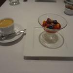 レストラン シャルム - 本日のデザート:ゆす風味のレアチーズケーキ、エスプレッソ