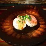 のんき寿司 - 鮟鱇肝です。餡かけで食しました。美味しかったです。