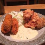 焼き鳥・炙り炭焼き をどり - カキと鶏唐揚げ定食