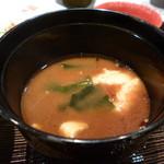 豊園 - お味噌汁の中にお芋のすり流し これ良いアイデアだと思います。
