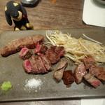 鉄板焼 開化屋 - 北海道 神居牛3種味くらべ