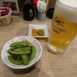 牛串酒場 バールミート - 2016年11月 生ビール中+枝豆 380+180円