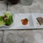 ホテル湖上苑 - 料理写真:夕食①前菜(サラダ ヤシオマスマリネ パテ)