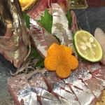 膳のすたいる - byゼッペキ       泳ぎアジの刺身