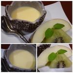 花万葉 - ◆デザート・・「きなこブリュレ」と果物。