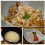 花万葉 - ◆上:大豆と桜海老の炊き込みご飯 ◆左下:お味噌汁 ◆右下:「香の物」