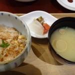 花万葉 - ◆「大豆と桜海老の炊き込みご飯」「お味噌汁」「香の物」