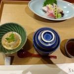 花万葉 - ◆最初に「魚の南蛮漬け」「茶碗蒸し」「お刺身」が出されます。