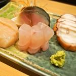 金寿司 - お造り盛り合わせ(ホタテ、ハタ、鯖、蛸)