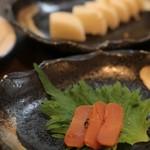 寿司処かぐら - 手前:からすみ(300) 奥:長芋の浅漬け(300)