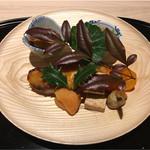60082408 - 豆腐と背子ガニの卵を入れた卵焼き、赤ナマコと海鼠腸の共和え、4kg徳島鰆の味噌西京焼き、金柑蜜煮、クワイの素揚げ、杏の甘酢漬け