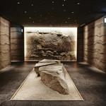 星のや東京 - 玄関で靴を脱いでから地下1階に降りると地層をイメージした壁に囲まれたダイニングがあります。