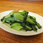 ワヒネ - 前菜の青梗菜と干し海老のニンニク炒め