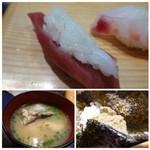 築地すし鮮 - ◆シャリは一般的な品ですね。前述しましたが、小さくしていただきました。 ◆お味噌汁には「鮭」のアラが入っています。 ◆手巻きの「蟹味噌」