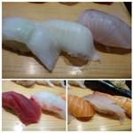 築地すし鮮 - 上:「貝(何かは不明)」「エンガワ」「カンパチ」・・エンガワは脂を感じ美味しい。左下:「赤身」「鯛」右下:「鮭」「??」「海老」
