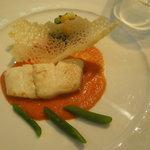 白身魚 香味野菜となすのフリットとトマトソース