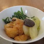 タロウ - 栃尾揚げ、白菜、ほうれん草、しめじの煮物アップ