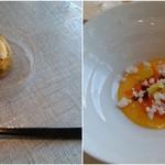 60092484 - 左:ほたてと茸の一口サイズの前菜、右;カボチャのブランマンジェ