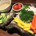 鶏家 六角鶏 - 「焼き野菜3種のバーニャカウダ 」 2016.10.25