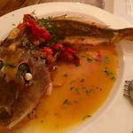 オステリア イマムラ - ホウボウのアクアパッツァ   立派なホウボウ   シンプルなお料理に素材が光ります♪