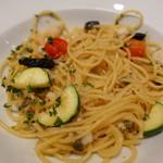 トラットリア ディペッシェ パッパーレ イタリア - 鮮魚とチェリートマト・ズッキーニのスパゲッティ