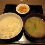 泥武士 - 7分つき米&具だくさん味噌汁&漬物