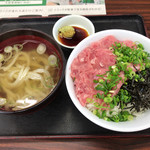 茶山亭 - ねぎとろ丼セット(うどん)